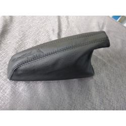 Handbremsmanschette Leder schwarz mit schwarzen Nähten